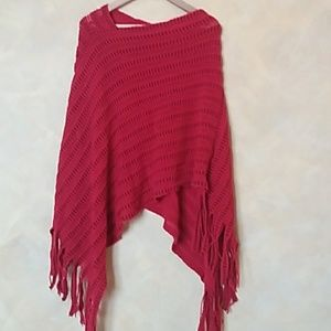 Sweaters - red knit batwing cape poncho tassel